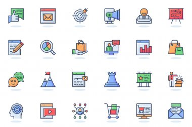 Digital marketing web flat line icon. Bundle outline pictogram of target, newsletter, attracting new customers, data analytics, business concept. Vector illustration of icons pack for website design icon