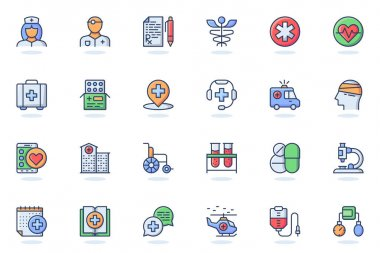 Medical services web flat line icon. Bundle outline pictogram of doctor, nurse, prescription, pharmacy, medicine, ambulance, treatment concept. Vector illustration of icons pack for website design icon