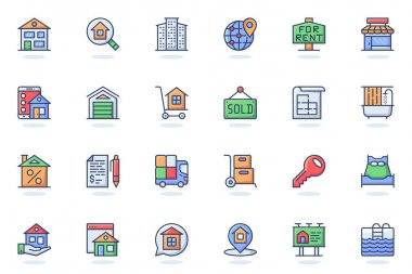 Real estate web flat line icon. Bundle outline pictogram of buying house, looking for housing, apartments, rent, sold, bank loan, mortgage concept. Vector illustration of icons pack for website design icon