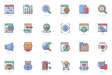 Seo optimization web flat line icon. Bundle outline pictogram of settings, targeting, monitoring, search, ranking, traffic, statistics concept. Vector illustration of icons pack for website design icon