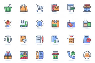 Online shopping web flat line icon. Bundle outline pictogram of packages, mobile app, shop, gift, sale, money, coupon, payment, discount concept. Vector illustration of icons pack for website design icon