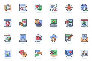 Social network web flat line icon. Bundle outline pictogram of profile page, link, content, post, like, follow, rating, mobile app, chat concept. Vector illustration of icons pack for website design icon