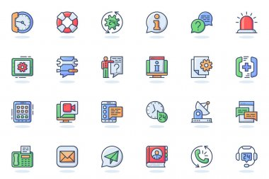 Support services web flat line icon. Bundle outline pictogram of help, faq, operator, hotline, consultation, online chat, phone assistant concept. Vector illustration of icons pack for website design icon
