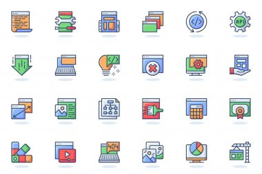 Web development flat line icon. Bundle outline pictogram of coding , interface elements, settings, site building, content, page navigation concept. Vector illustration of icons pack for website design icon