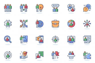 Teamwork web flat line icon. Bundle outline pictogram of colleagues, business meeting, team building, cooperation, collaboration, company concept. Vector illustration of icons pack for website design icon