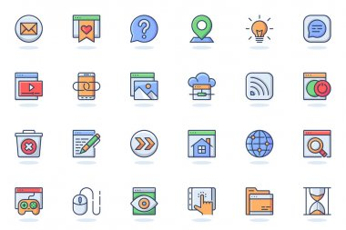 Website UI web flat line icon. Bundle outline pictogram of development, site content, buttons, seo optimization, programming process concept. Vector illustration of icons pack for website design icon