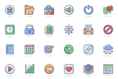 User interface buttons web flat line icon. Bundle outline pictogram of home, location, message, clock, lock, charge, link, cloud storage concept. Vector illustration of icons pack for website design icon