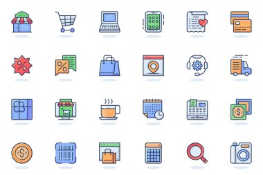 Shopping web flat line icon. Bundle outline pictogram of shop, supermarket, purchases, payment, discounts, product search, delivering concept. Vector illustration of icons pack for website design icon