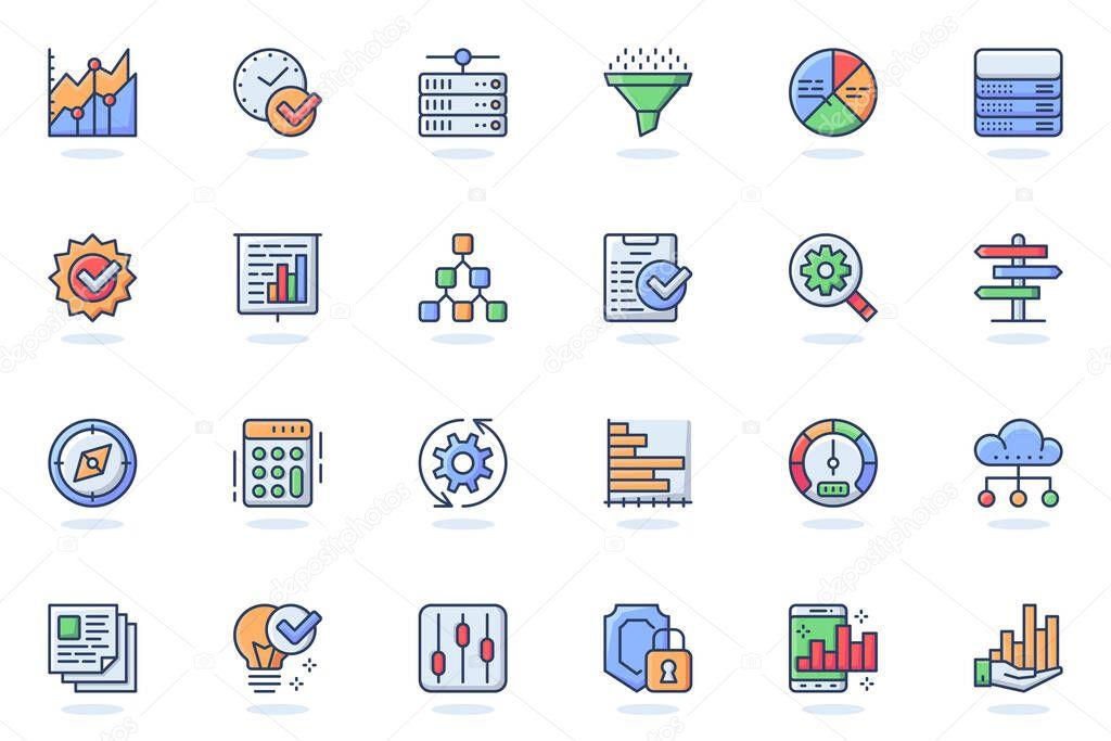 Big Data analysis web flat line icon icon