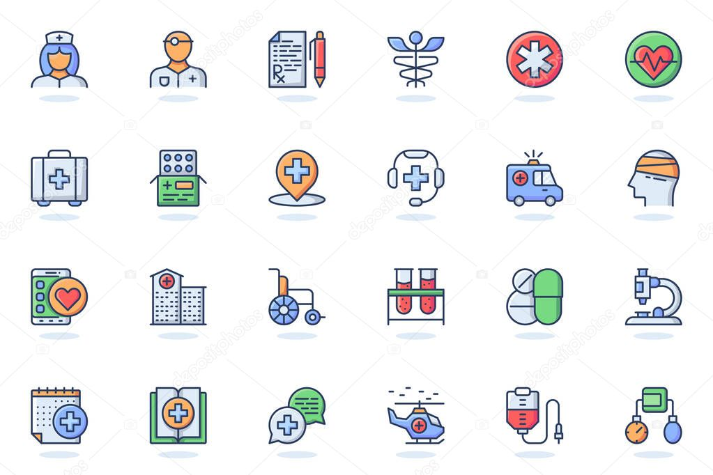 Medical services web flat line icon icon