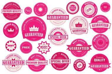 Bundle red sale labels. Stickers premium quality flat style for social media ads and banners, website badges, marketing, labels and stickers for online shopping templates. Vector illustration. icon