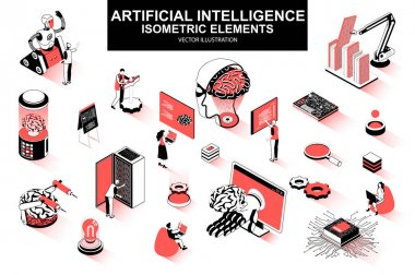 Artificial intelligence bundle of isometric elements. Electronic brain, cyborg, deep learning, futuristic technology, robot isolated icons. Isometric vector illustration kit with people characters. icon