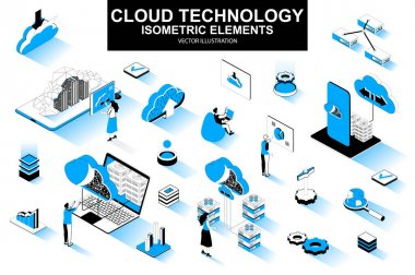 Cloud technology bundle of isometric elements. Server rack, hosting provider, information network, data storage, cloud database isolated icons. Isometric vector illustration kit with people characters icon