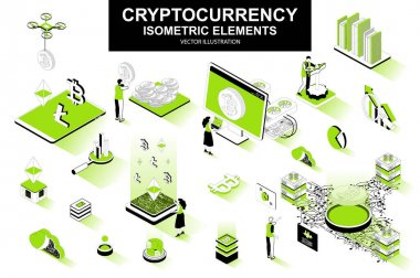 Cryptocurrency bundle of isometric elements. Bitcoin, litecoin and ethereum cryptocurrency, mining hardware, fintech application isolated icons. Isometric vector illustration with people characters. icon