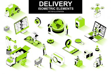 Delivery service bundle of isometric elements. Courier on scooter, delivery truck, pinpointer, warehouse worker, quadcopter, delivery box isolated icons. Isometric vector illustration kit with people. icon