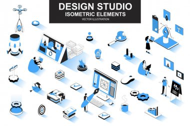 Design studio bundle of isometric elements. Ui UX design, font typography, front end development, interface design, website prototyping isolated icons. Isometric vector illustration kit with people. icon