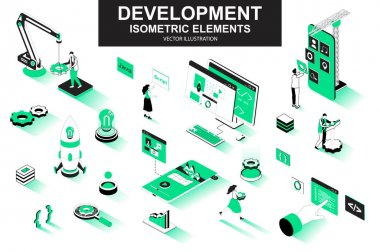 Development company bundle of isometric elements. interface prototyping, back end development, developer programming, project launch isolated icons. Isometric vector illustration kit with people. icon