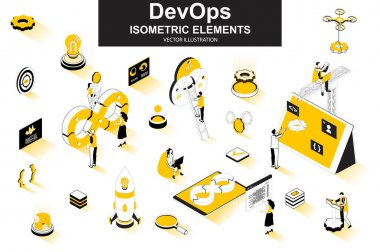 DevOps bundle of isometric elements. Startup launch, software development, deployment and testing, automation and programming isolated icons. Isometric vector illustration kit with people characters. icon