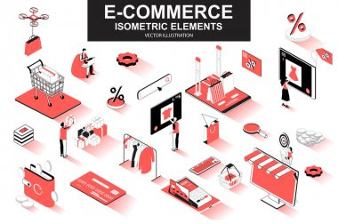 E-commerce bundle of isometric elements. Internet marketplace, atm terminal, online shopping, credit card payment, digital wallet isolated icons. Isometric vector illustration with people characters. icon