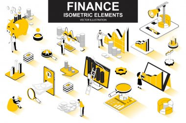 Finance bundle of isometric elements. Financial analytics, piggy bank, stock trading, market indexes, investment, money transfer isolated icons. Isometric vector illustration with people characters. icon
