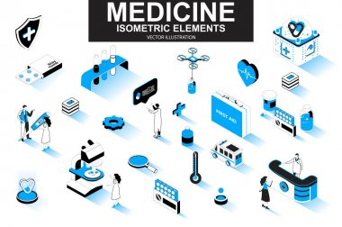 Medicine bundle of isometric elements. First aid kit, medicine, doctor, laboratory research, pharmacy industry, ambulance car isolated icons. Isometric vector illustration kit with people characters. icon