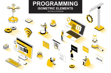 Programming bundle of isometric elements. Developer working, program languages, software engineering, full stack development isolated icons. Isometric vector illustration kit with people characters. icon