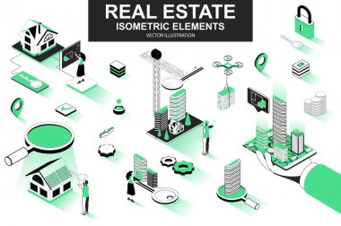 Real estate bundle of isometric elements. Skyscraper, office center, real estate agency, realtor with key, downtown architecture isolated icons. Isometric vector illustration with people characters. icon