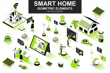 Smart home bundle of isometric elements. Solar power generation, air conditioning, automation, control and monitoring system isolated icons. Isometric vector illustration kit with people characters. icon