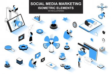 Social media marketing bundle of isometric elements. Magnet, megaphone, lead generation, marketer, announcement and promotion isolated icons. Isometric vector illustration kit with people characters. icon