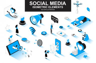 Social media bundle of isometric elements. Customer targeting, loudspeaker, smm service, mobile marketing, referral program isolated icons. Isometric vector illustration kit with people characters. icon