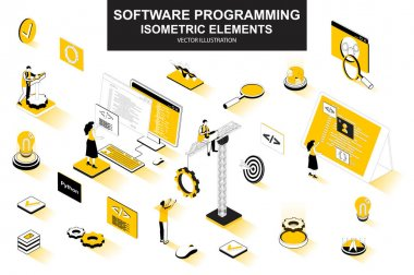 Software programming bundle of isometric elements. Program languages, developer, software engineering, back end development isolated icons. Isometric vector illustration kit with people characters. icon