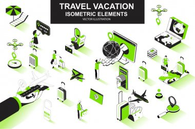 Travel vacation bundle of isometric elements. Flight booking, airplane boarding, tourist with luggage, travel agency, hotel reservation icons. Isometric vector illustration kit with people characters. icon