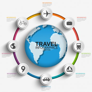 Travel infographics design template