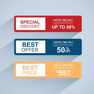 Collection flat sale banners with long shadow