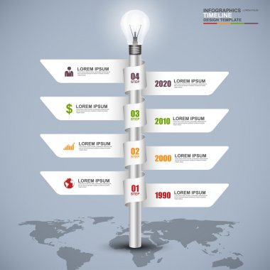 Abstract 3d signpost timeline infographics design template