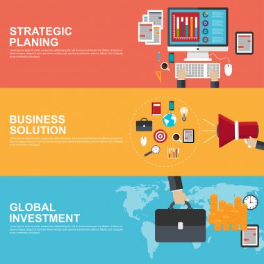 Flat design concepts for strategic planning, global investment and business solution