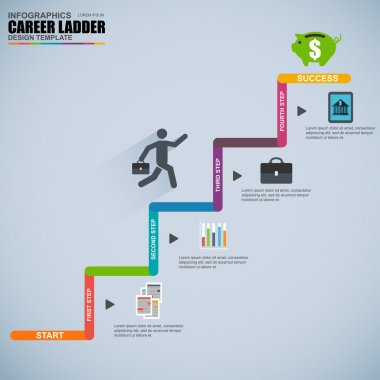 Infographics business career ladder vector design template