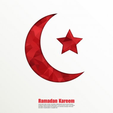 Geometric crescent moon and star on white background for holy month of muslim community Ramadan Kareem.