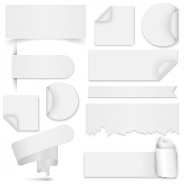 Set of white paper stickers and banners on white background