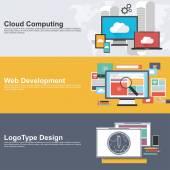 Plochý design koncepty pro cloud computing, web rozvoj a loga design