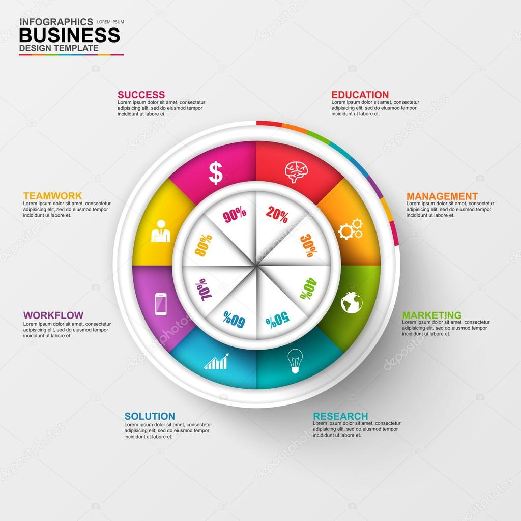 Abstract 3D digital business diagram Infographic