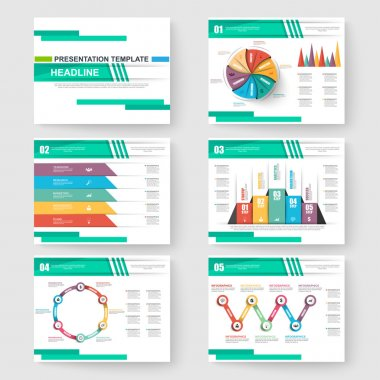 Set of presentation slide templates powerpoint and business vector brochures
