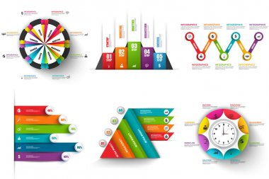 Collection of abstract 3D digital business infographic vector design