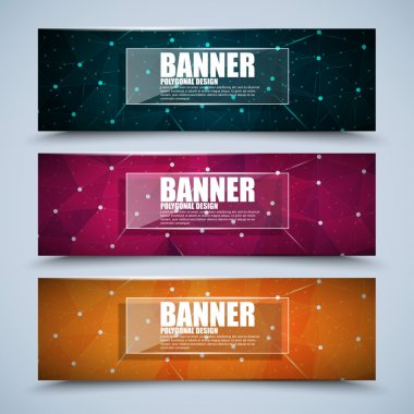 Set of modern vector banners with wireframe mesh polygonal background