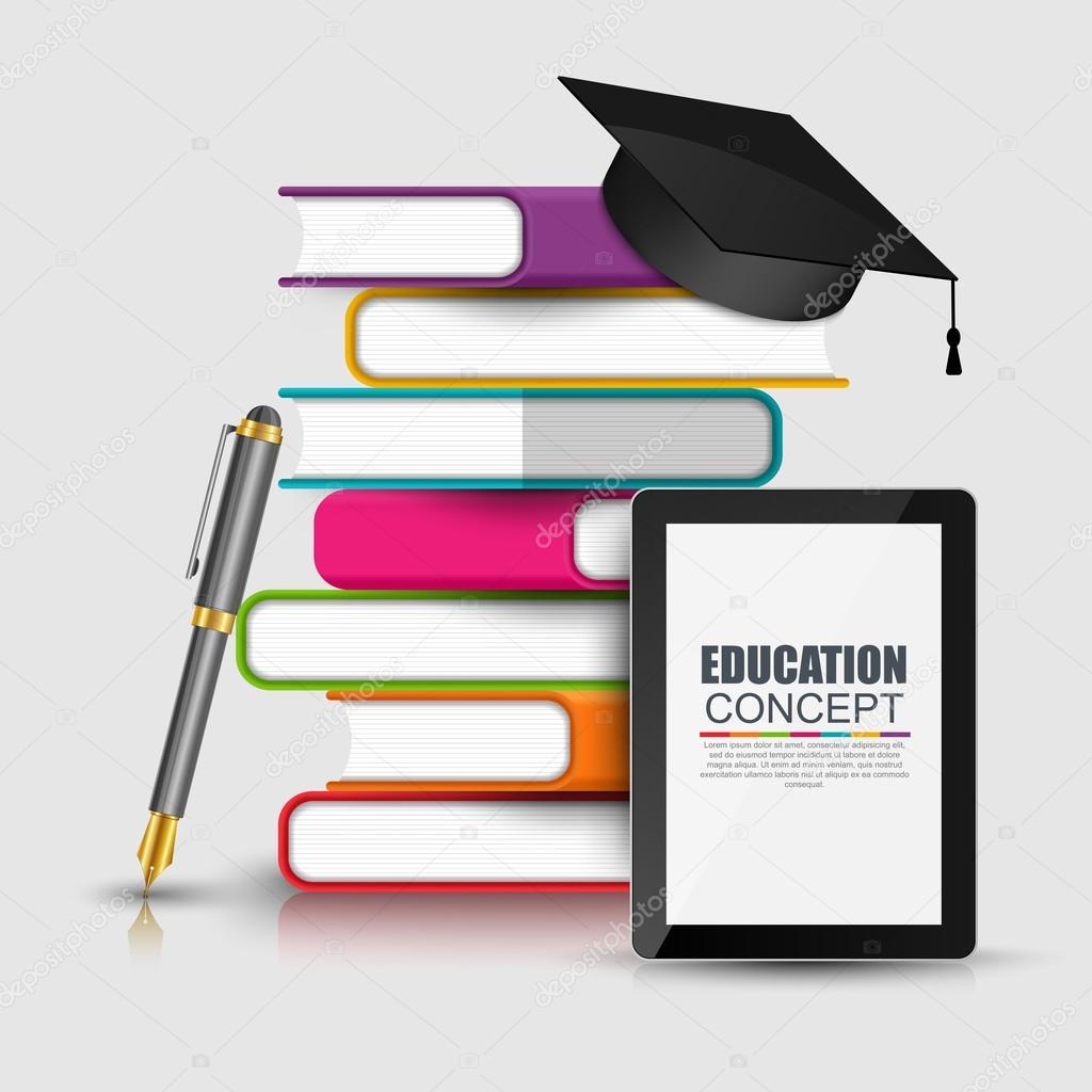 Plantilla de diseño de vectores de libros paso educación infografía ...