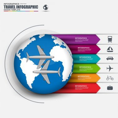 Travel infographic with vector world map. Can be used for cycle diagram, graph