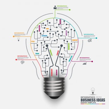 Infographic business light bulb vector design template