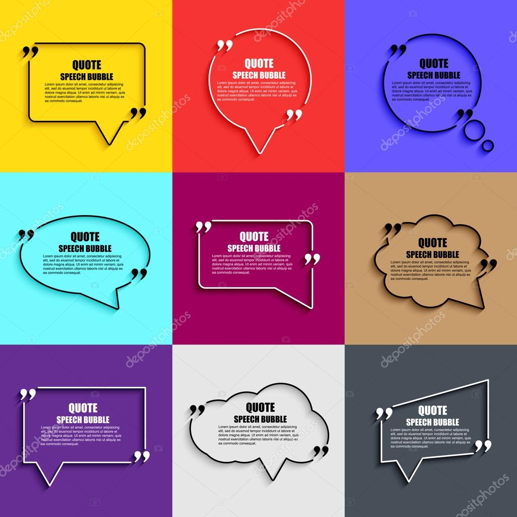 Quote speech bubble vector design template circle business card quote speech bubble vector design template circle business card template paper sheet information text print design short quotes in quotation marks reheart Choice Image