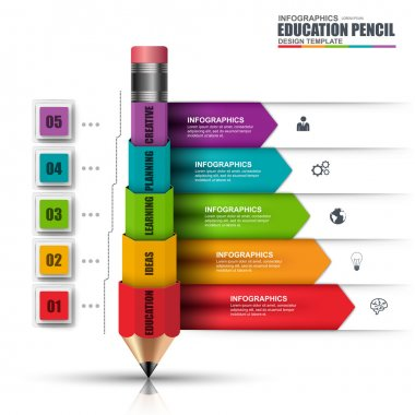 Abstract 3D education pencil Infographic. Can be used for workflow layout, data visualization, business concept with 5 options, parts, steps or processes, banner, diagram, chart, web design.