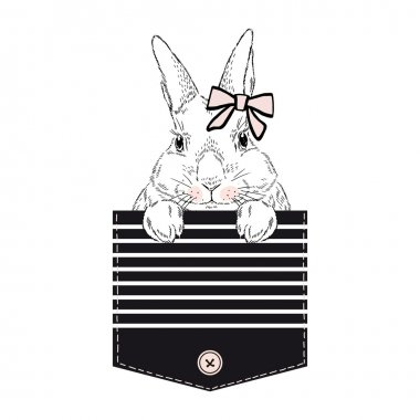 lovely bunny girl in stripy pocket
